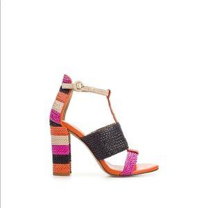 Zara Raffia Color Block Sandals Size 6